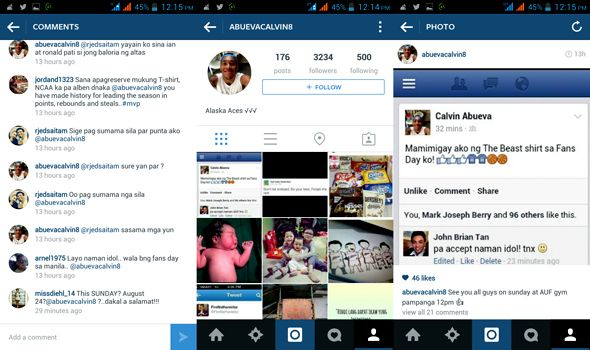 Here's a screen grab of the bogus Calvin Abueva account.