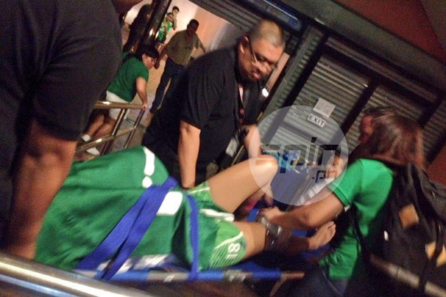 Cyd Demecillo is rushed to Makati Medical Center after the game. Mei-Lin Lozada