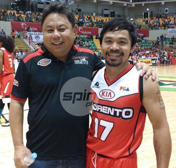 Manny Pacquiao with Blu and Blackwater owner Dioceldo Sy. Snow Badua
