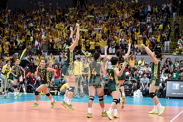 FEU celebrates after pulling off an epic comeback against La Salle