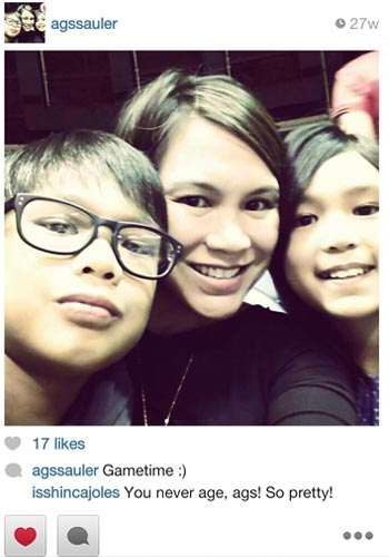 Juno Sauler's wife Agnes and two kids are all diehard Ginebra fans.