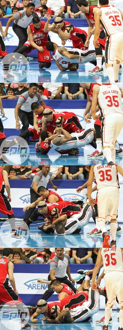 Sequence of photos taken by Spin.ph photographer Jerome Ascano shows the skirmish that led the summon on Mark Caguioa.
