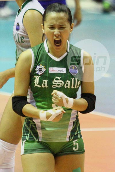 La Salle's Melissa Gohing screams in jubilation after she scores a