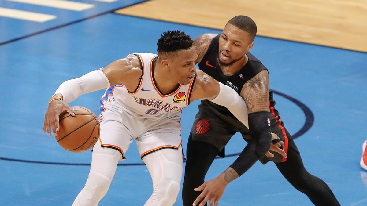 e60288a5cca6 Russell Westbrook goes 5 for 21 in 40 minutes of action as damian Lillard  plays 41 minutes and shoots 7 for 19.