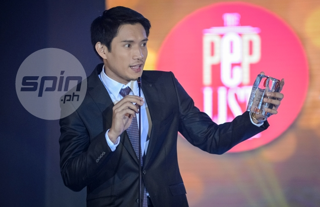 James Yap gives his acceptance speech after being named the PEP List Male Newsmaker of the Year. Jaime Campos