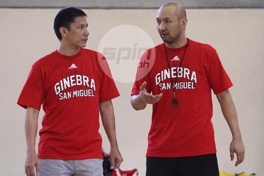 New Ginebra coach Jeff Cariaso and assistant Olsen Racela supervise their first day of practice with Ginebra. Jerome Ascano