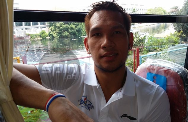 June Mar Fajardo pauses for an interview with Spin.ph inside the Gilas bus during Friday's All-Star festivities. Snow Badua