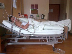 June Mar Fajardo is in the hospital suffering from scrotal trauma. Photo from @NoliEala's Twitter account.