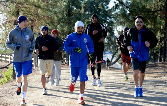 'Pacman' and his group during their run around Griffith Park in Los Angeles. Photo by Mike Quidilla/MP Promotions