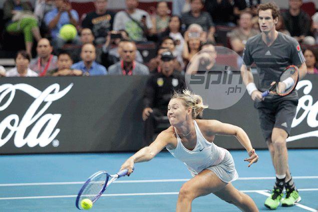 Sharapova plays mixed doubles with Andy Murray.