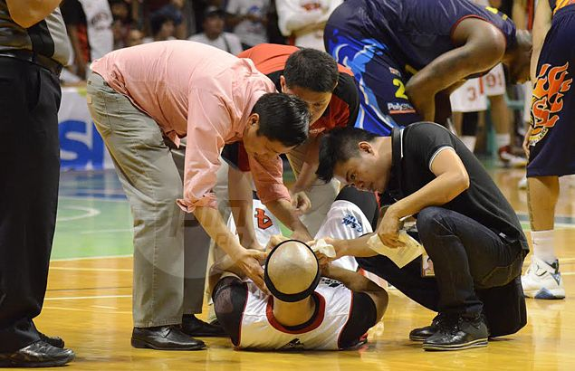 Ginebra guard Mark Caguioa is all shaken up. Freddie Dionisio