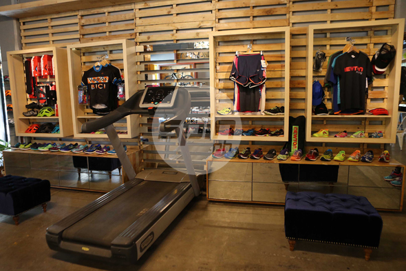 Running gear and apparel from Brooks and Newton can be tested on a treadmill.