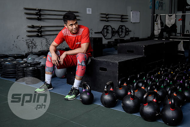 Baser Amer takes a short break before plunging into another round of exercises