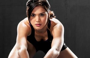"""""""For my core work, I'll use Go Fit kettlebells, the fitness ball, and TRX"""", says Michelle Gumabao."""