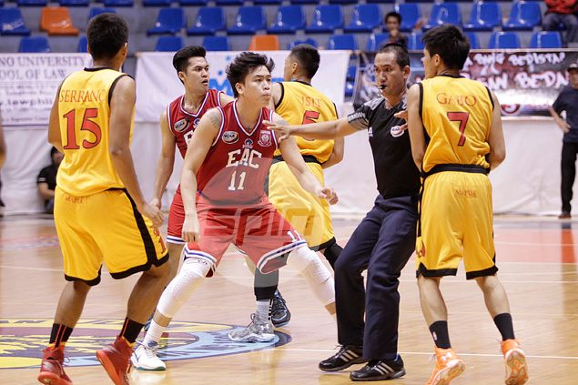 Players from EAC and Mapua square off at midcourt. Jerome Ascano
