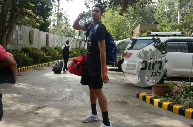 Ginebra forward Japeth Aguilar leaves for Manila. Snow Badua