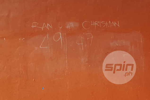Score from the now-viral game can be seen on a wall, written in chalk. Bernadette Rivera