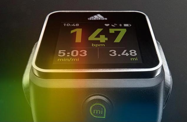 sports shoes 2acd0 543d6 The latest foray of adidas into the e-fitness field is an all-in-one  smartwatch with a strapless heart rate monitor, GPS tracking and a color  touchscreen ...