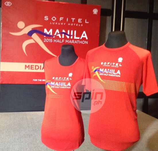 Sofitel Manila Half Marathon race jerseys on display