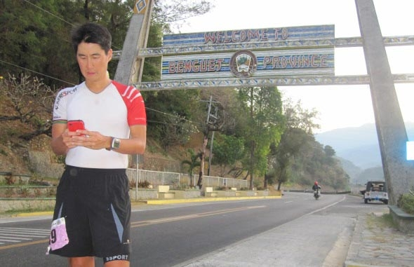 Social media updates as I pass by the Benguet arc.