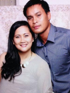 Meralco's Sunday Salvacion with wife Hazel.