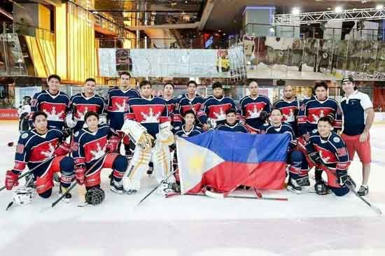 Team Pilipinas ice hockey team celebrating its bronze medal win