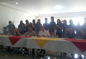 Players from the national pool along with team officials pose for a photo during the press conference. Photo by Reuben Terrado