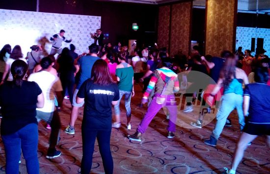 Zumba founder Beto Perez leads a class during the press conference at the Hotel Intercon.