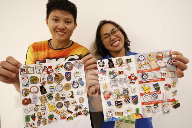 Kirstie Alora, Hidilyn Diaz thrilled to expand pin collection with rare finds from Rio Olympics