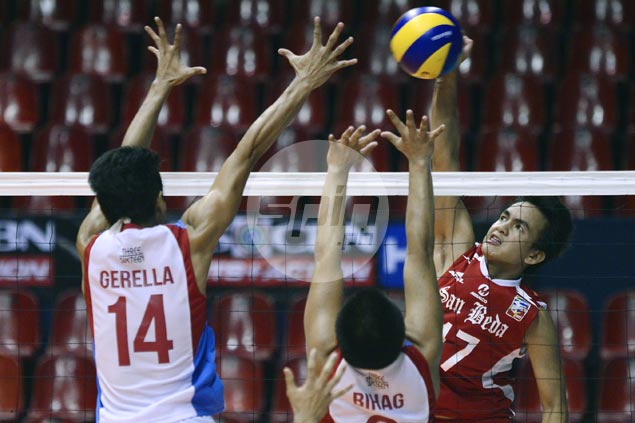 San Beda fights back from two sets down to beat EAC for first win in Spikers Turf