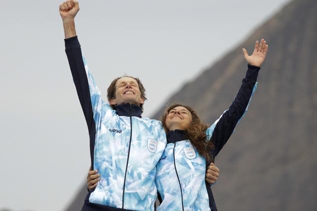 Cancer survivor Santiago Lange bags Olympic gold in mixed catamaranwith Cecilia Carranza Saroli