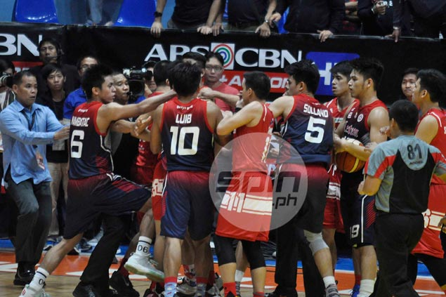 Late-game commotion mars San Beda win over Letran in hot-tempered NCAA rematch