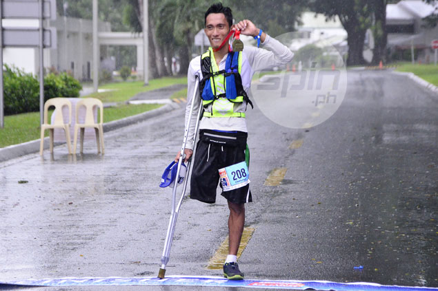 Sariaya native finishes 50-km ultramarathon on one leg and a crutch - and can't wait to go longer