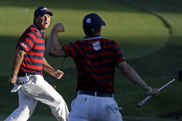 Patrick Reed fires up home crowd as US moves closer to winning back Ryder Cup