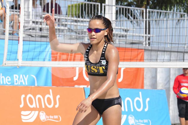 UST's Rondina, Gutierrez first to UAAP beach volley semis after beating NU's Doromal, Urdas