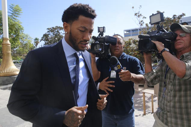 Derrick Rose appears in court for rape case trial as accuser recalls assault in tearful testimony