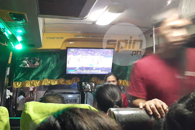 When you're riding bus with Game 4 on TV and Ginebra fan behind wheel, better hold on to your seat