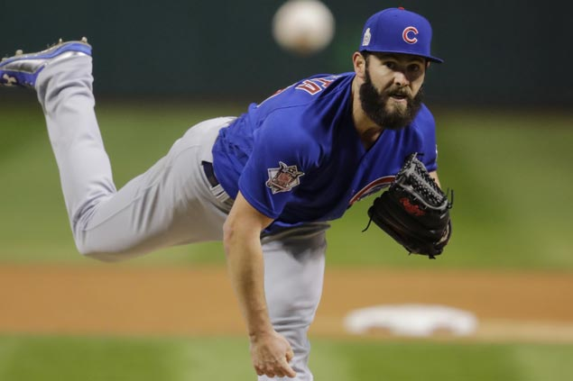 Arrieta, Schwarber lead Cubs past Indians in Game Two to even up World Series
