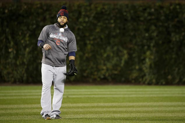 Unable to use Carlos Santana as DH at Wrigley Field, Indians move him to left field