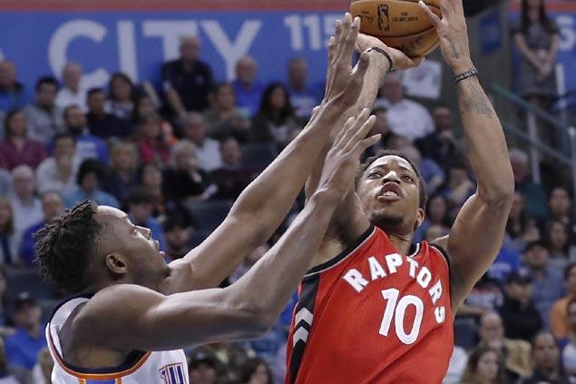 DeMar DeRozan drops 37 as Raptors buck slow start to hand Thunder first home loss