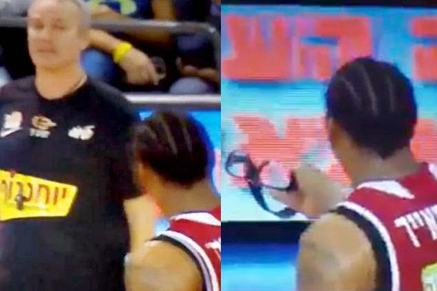 Apparently dismayed with officiating, Amare Stoudemire offers goggles to referee in Israel league