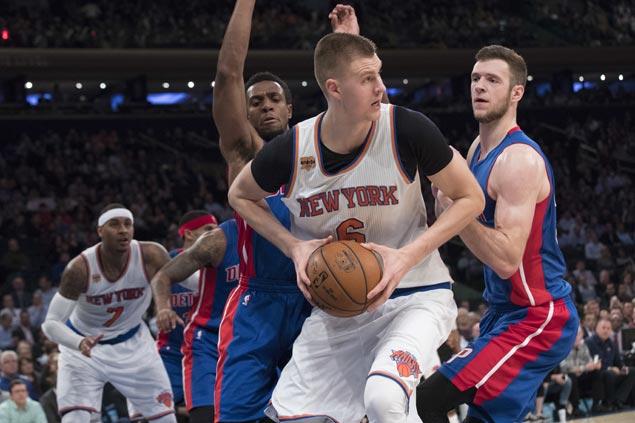 Kristaps Porzingis scores career-high 35 as Knicks overcome Pistons