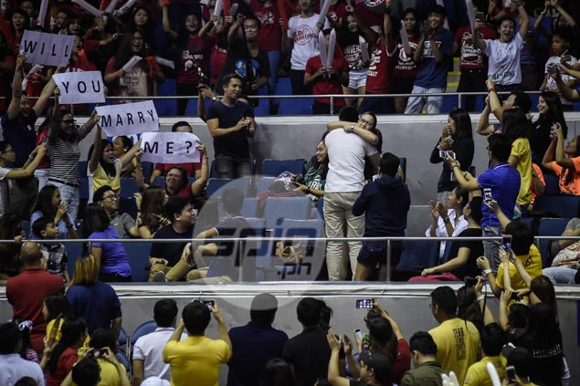 Regina Oscuro hears the cheers after saying yes to wedding proposal at Big Dome