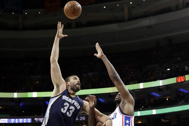 Gasol, Randolph lead Memphis late as Grizzlies grind out a double-OT win vs error-prone Sixers