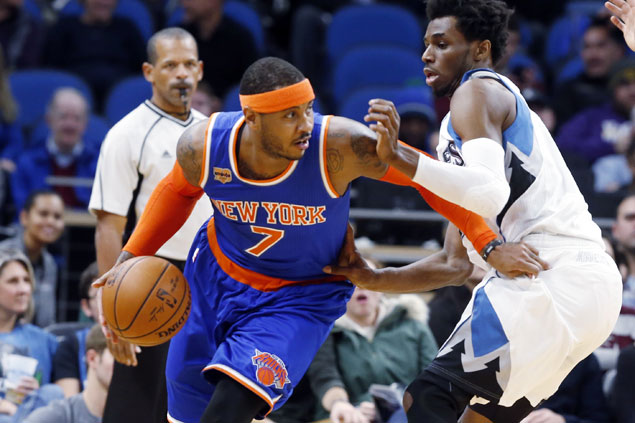 Carmelo Anthony hits game-winner as Knicks nip Wolves and spoil Karl Anthony Towns' 47-point game