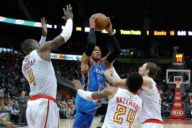 Russell Westbrook posts sixth straight triple-double to lead Thunder past slumping Hawks