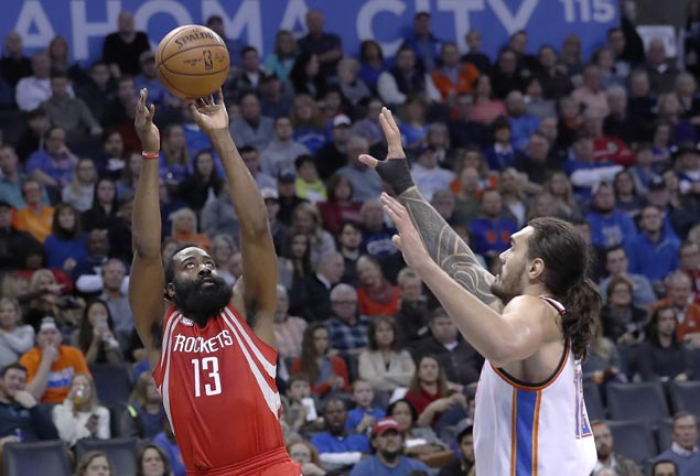 James Harden shows way as Rockets overcome Westbrook triple-double to end Thunder streak at six