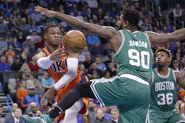 Russell Westbrook triple-double streak ends but Thunder get by Celtics