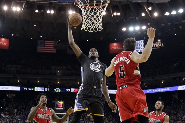 Kevin Durant scores 34 as Warriors win by 45 over Trail Blazers