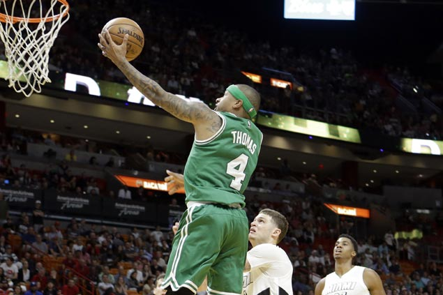Celtics build huge early lead and hold off Heat after Isaiah Thomas sending off